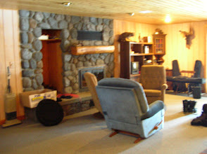 Photo: basement of the cabin, has a great fireplace