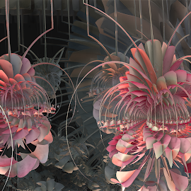 Quirky Friends by Glenda Popielarski - Illustration Abstract & Patterns ( 3d, pink, gray, mandelbulb, fractal, abstract, digital art, grey )