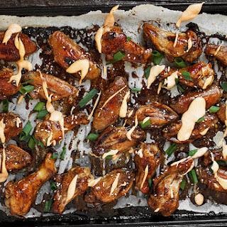 Teriyaki Chicken Wings with Sriracha Cream Drizzle.