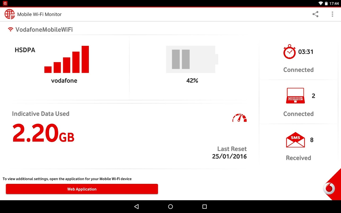 Vodafone Mobile Wifi Monitor Screenshot
