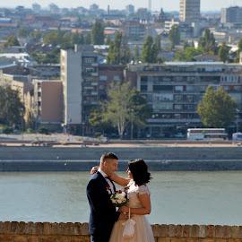 by Sasa Rajic Wedding Photography - Wedding Bride & Groom ( love, wedding photography, wedding, bride and groom, danube )