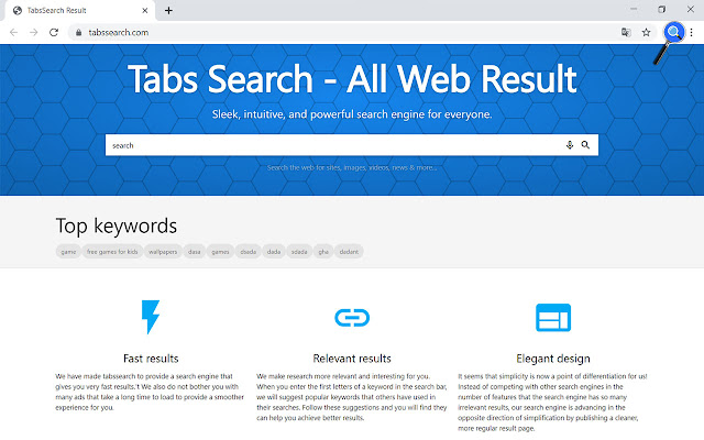 Homepage Quick Search Engine