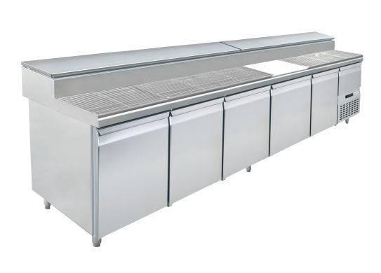 Fastfood tafels S1-3000 5 - DEURS PIZZA TAFEL - MET INGEBOUWDE GEKOELDE SALADETTE