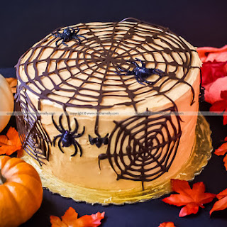 Halloween Special Spider web Cake – Chocolate Cake with Cream Cheese Frosting