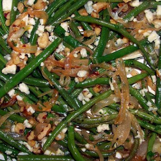 Petite Green Beans With Sweet Onions, Walnuts and Gorgonzola