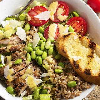Grilled Chicken and Farro Caesar Salad Bowl