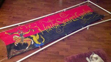 Photo: Completed banner with period sizing and period technique, using modern dyes for durability. Barony of Darkwater motto with knight design taken from an extant banner.