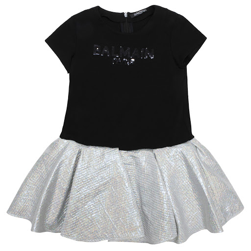 Primary image of Balmain Black & Silver Logo Dress