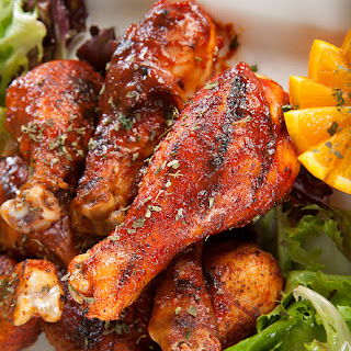 Grilled Chicken Drumsticks with Honey-Chipotle Sauce.