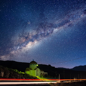 God has to be a painter! by Stavros Troullinos - Landscapes Starscapes ( milkyway, god, church, highway, purple, street, nightscape, milky way, sky, red, cars, stars, light trails, long exposure, night, starscape, starry,  )