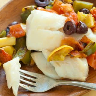 Baked Cod with Summer Vegetables.