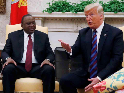 President Uhuru Kenyatta listens as US President Donald Trump speaks at the White House in 2018