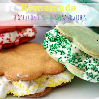 Homemade Sugar Cookie Ice Crean Sandwiches.