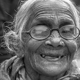 Hidden Smile  by Vishal  kumar Singh - Uncategorized All Uncategorized ( old_lady, people, portrait, culture, travel photography )