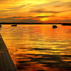 sunset dock by Fraya Replinger - Landscapes Sunsets & Sunrises ( water, michigan, sunset, summer, lake, great lakes, traverse city,  )