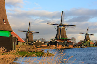 Photo: Zaanse Schans in Holland is considered the first industrial site in the world. 250 years ago there were over 600 windmills in the area, performing a range of tasks such as milling timber or creating paints, paper and oils. Today only a handful of windmills remain but they are in working order and are still used today.  This photo was taken on the weekend just gone. While we were there it was pretty obvious that windmills were a good choice for the area. There was a strong and steady wind blowing the whole time. Unfortunately for us, the wind was also very cold!