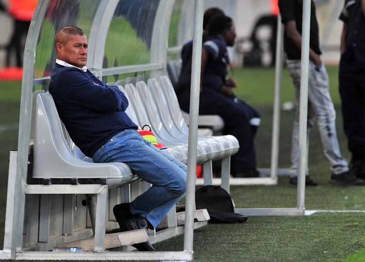 AmaZulu coach Cavin Johnson cuts a disheartened figure as he remained on his bench even after the final whistle during his team's 3-1 Telkom Knockout quarterfinal defeat against Orlando Pirates at Moses Mabhida Stadium in Durban on November 3, 2018.