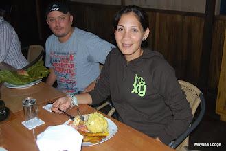 Photo: Eating a Juane (rice and chicken wrapped in a banana leaf, and boiled for hours) /  Comiendo un juane (arroz y pollo envuelto en una hoja de plátano y hervido por horas)