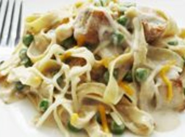 When fully drained add noodles and peas to the cut up chicken and add...