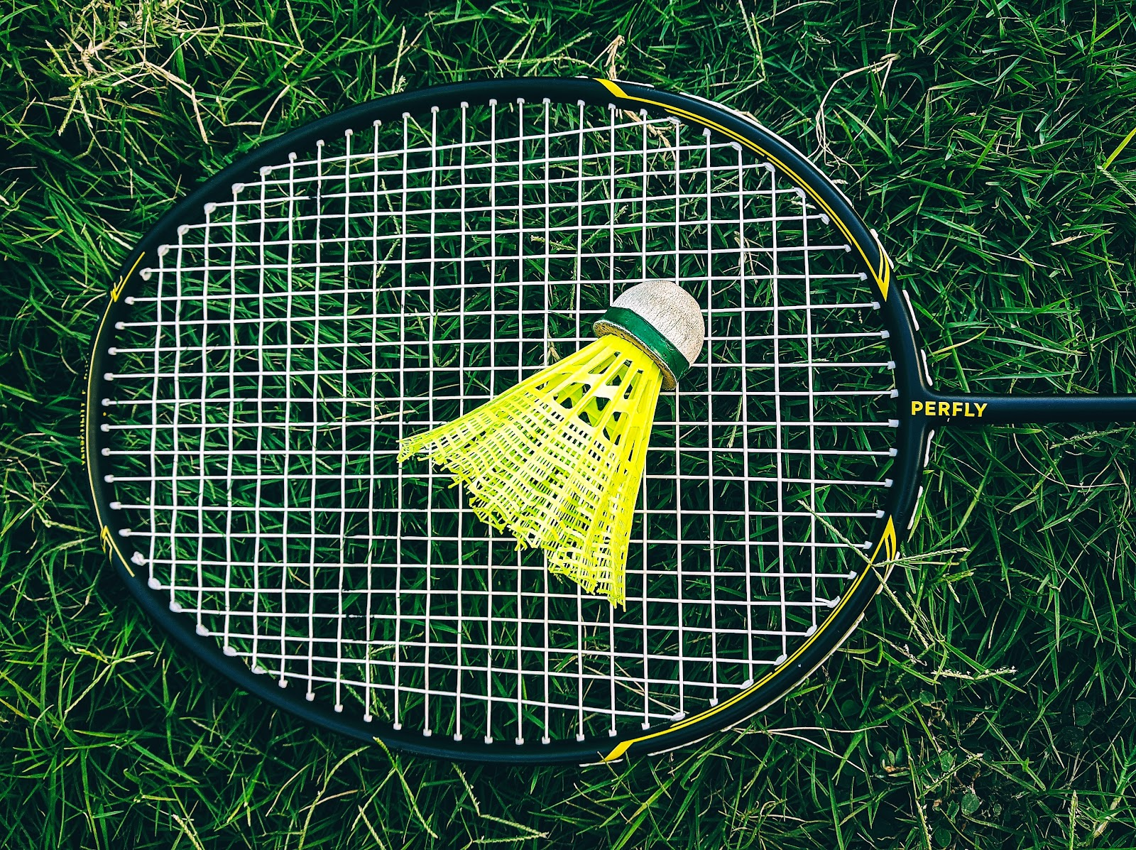 A shuttlecock rests on badminton racket strings in the grass.