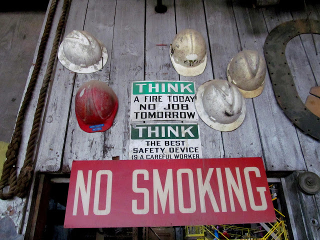 Hard hats and signs