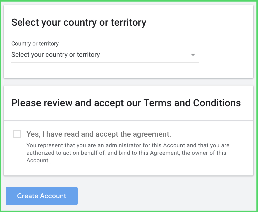 Country selection and terms acceptation