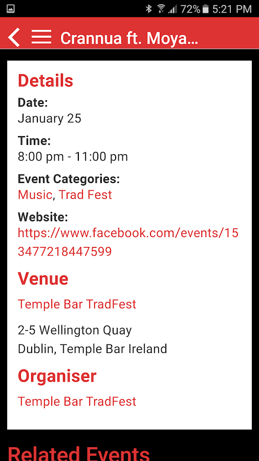 Dublin Event Guide- screenshot