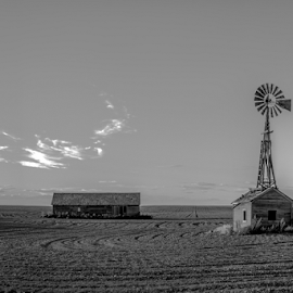 Windmill by Bob  Juarez - Buildings & Architecture Decaying & Abandoned ( clouds, barn, windmill, decay )