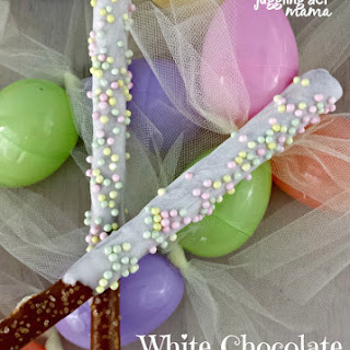 White Chocolate Dipped Pretzel Rods for Easter