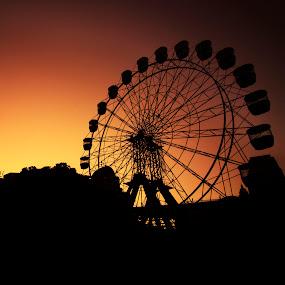 sunset, sunrise, twilight, dusk, dawn, luna park, silhouette by Anton Subiyanto - City,  Street & Park  Amusement Parks