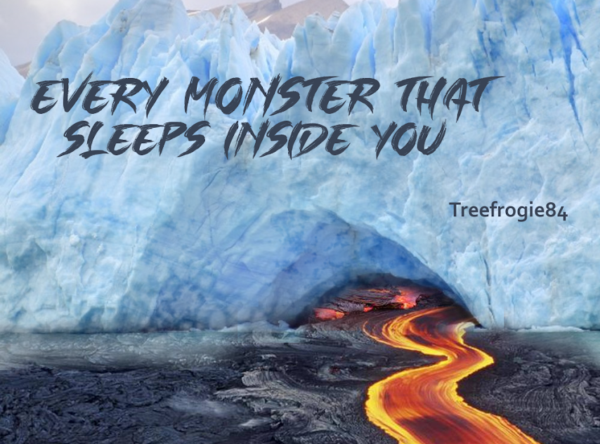 title over an ice cave with lava flowing out