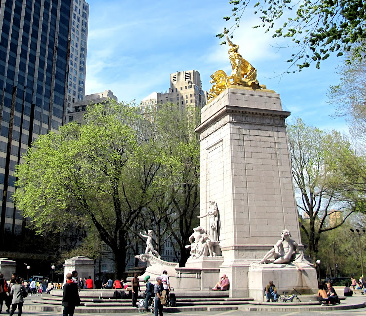 The USS Maine Memorial at the southwestern corner entrance to Central Park.  Photo: Yelena Linetskaya.