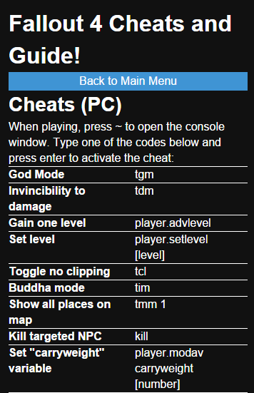 Fallout 4 cheats (cheat codes) god mode, flying, item spawn.