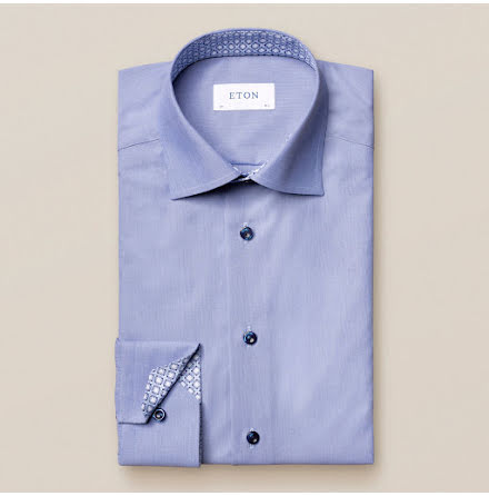 ETON Jaipur poplin blue hairline stripe light blue buttons contrast contemporary fit