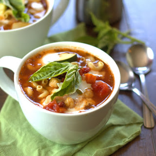Vegan Minestrone Soup with Basil and Cashew Cream.