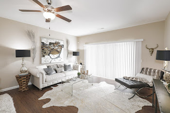 Sophia floorplan living room with wood-inspired flooring and ceiling fan