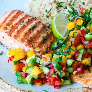 Grilled Lime Salmon + Avo-Mango Salsa.