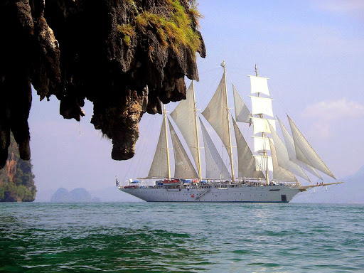 Thailand-Star-Clipper2.jpg - The Star Clipper sails in a gorgeous bay in Thailand.
