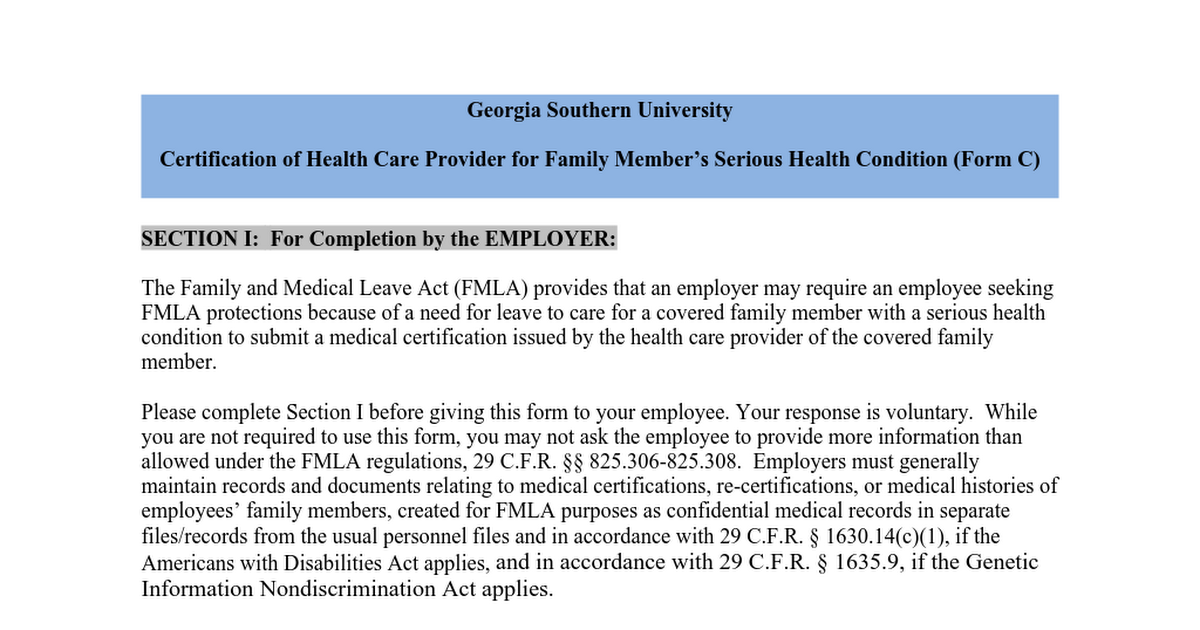 Form C Fmla Certification Of Health Care Provider For Family