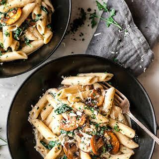 Simple One Pot Lighter Healthier Creamy Mushroom Pasta.
