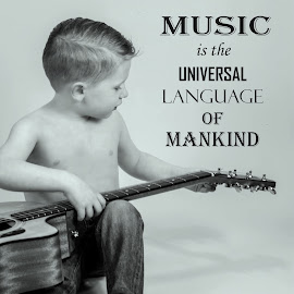 Music for the soul  by Stephanie Halley - Typography Captioned Photos ( music, black & white, kids )