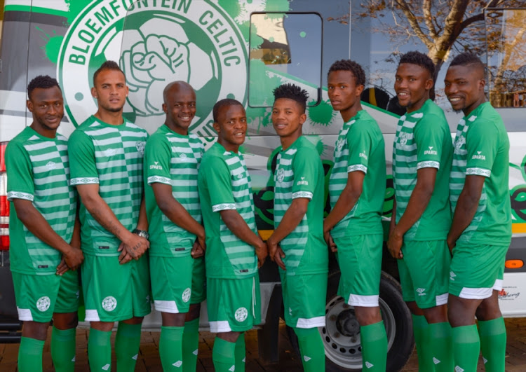 (From left to Right)  New Bloemfontein Celtic players parade the club s new  home 085d9a1cc