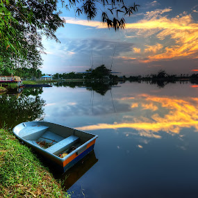 The Lakeside, The Boat & The Sunset by Mohd Tarmudi - Landscapes Sunsets & Sunrises ( cyberaya lakeside ... )