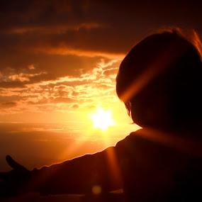 Embrace from an Angel by Scott Turnmeyer - Babies & Children Children Candids ( child, hug, sunset, portrait )