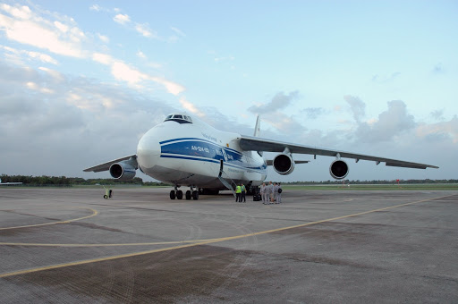A Russian Antonov AH-124-100 cargo airplane has landed to deliver the final components of the Japan Aerospace Exploration Agency's Kibo laboratory for the International Space Station.