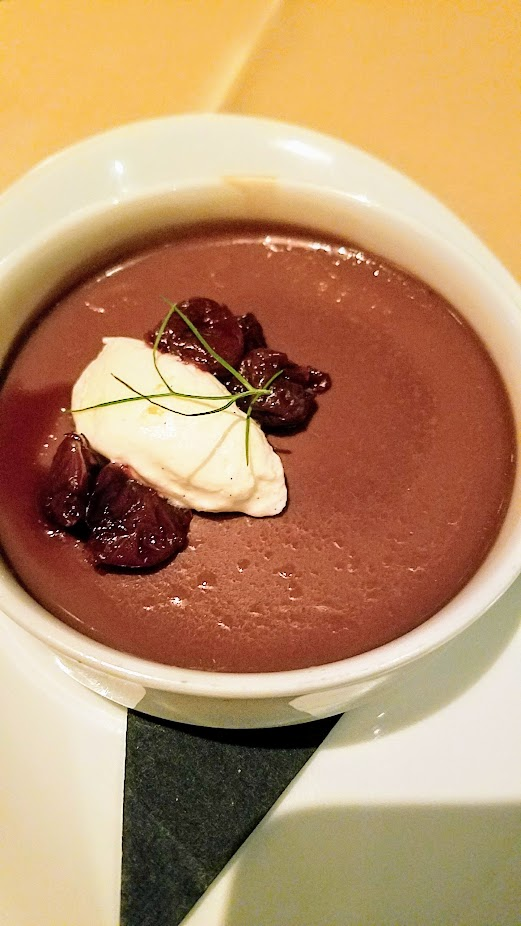 A Nice Dinner at Ringside Fish House with a dessert of Valrhona Milk Chocolate Pot de Crème with Sour Cherry Compote, Vanilla Chantilly