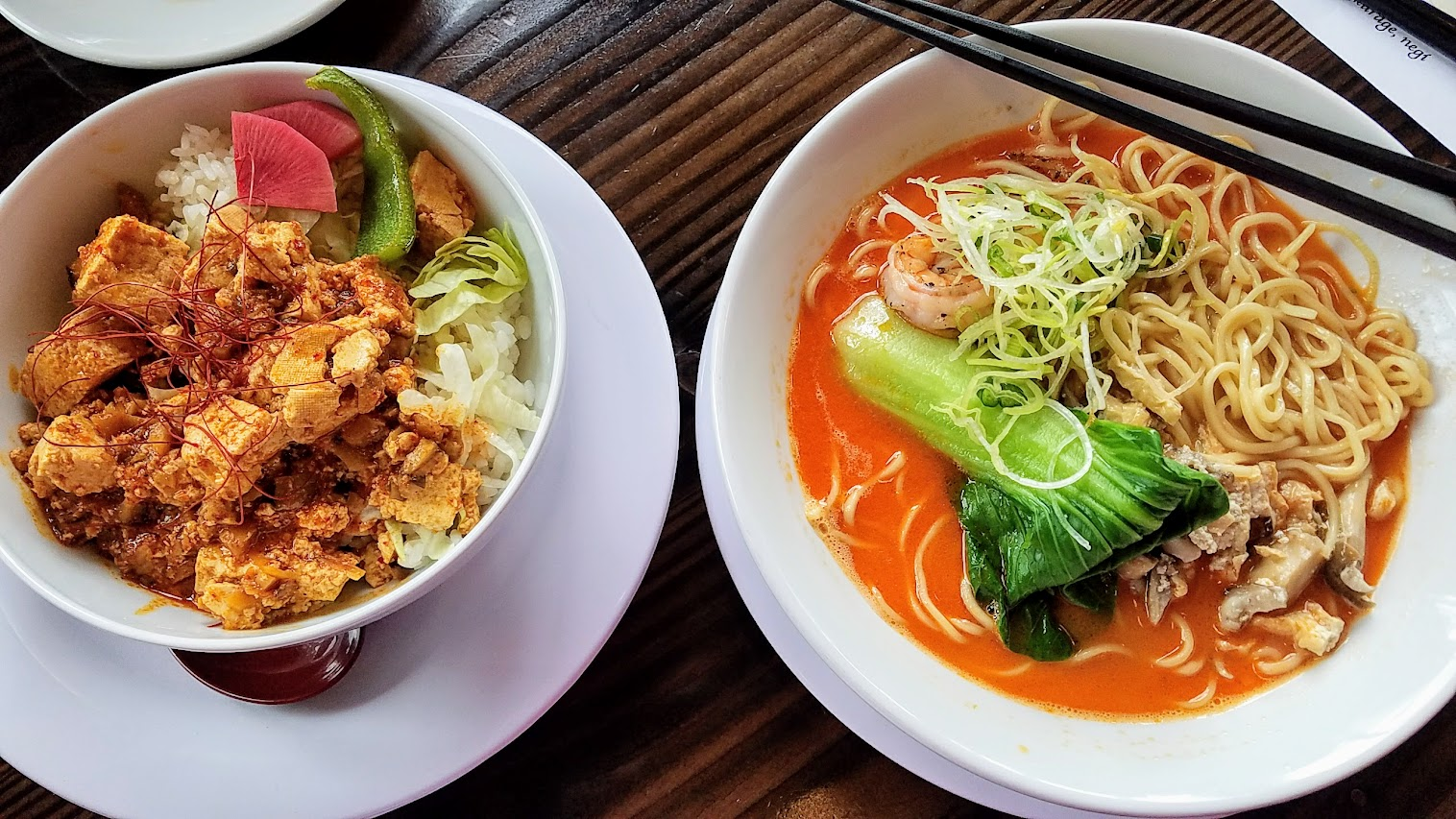 Marukin vegan mapo tofu over rice, and the only once a week, 30 bowls limited edition Ebi Ramen, a Rich Tiger Shrimp and chicken based broth with sea salt topped with tiger shrimp, bok choy, mushroom age-tofu mix, kikurage, and negi