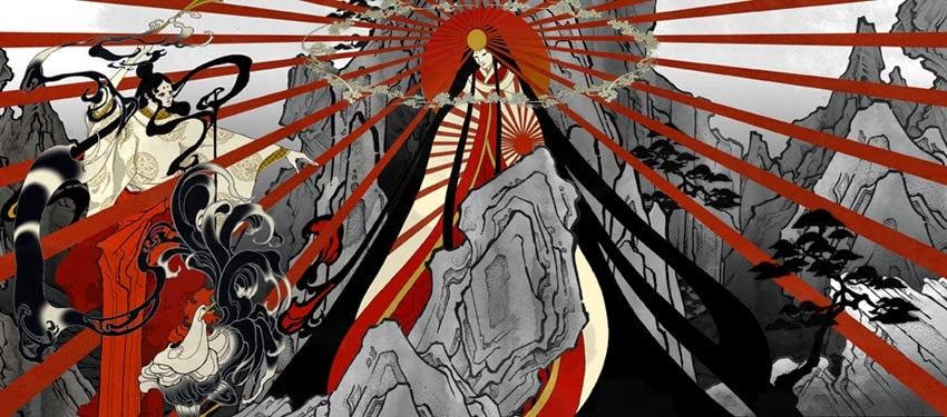 Pintura de la Diosa del sol Amaterasu Ō-Mikami de la cual se presume desciende el Primer Emperador