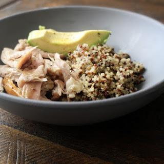 Red and White Qunioa, Warm Chicken Salad, Avocado Recipe