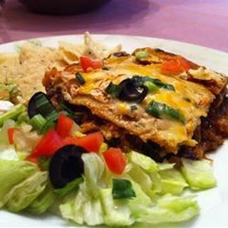 Layered Chicken and Black Bean Enchilada Casserole.